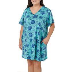 Plus Batik Turtle Print Short Sleeve Leisure Dress