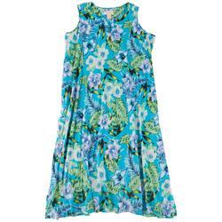 Womens Tropical Floral Leisure Dress