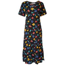 Womens Floral Keyhole Long Leisure Dress