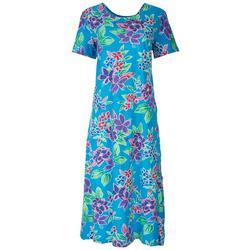 Womens Tropical Floral Long Leisure Dress