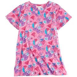 Plus Tropical Pink Print V-Neck Lounge Dress