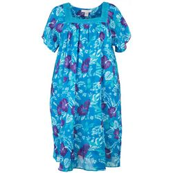 Coral Bay Plus Hibiscus Lounge Dress