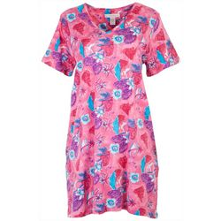 Coral Bay Womens Tropical Pink Print V-Neck Lounge