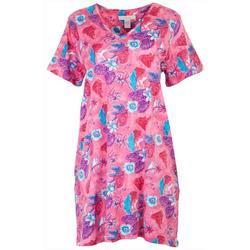 Womens Tropical Pink Print V-Neck Lounge Dress