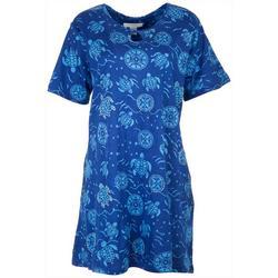 Womens Turtle Print Keyhole Lounge Dress