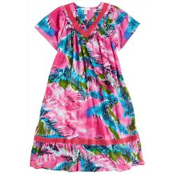 Coral Bay Plus Mixed Animal Gauze V-Neck Leisure Dress