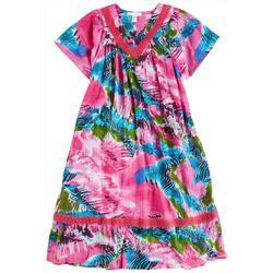 Plus Mixed Animal Gauze V-Neck Leisure Dress