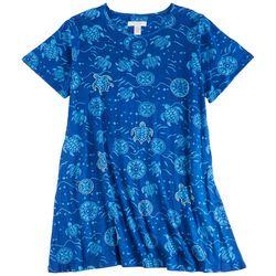 Coral Bay Plus Turtle Keyhole Short Sleeve Leisure Dress