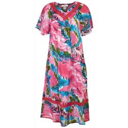 Coral Bay Womens Mixed Animal Gauze V-Neck Leisure Dress