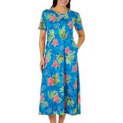 Coral Bay Womens Tropical Floral Print Long Leisure Dress