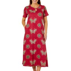 Coral Bay Womens Butterfly Print Long Leisure Dress