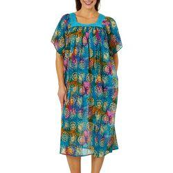 Coral Bay Womens Batik Print Gauze Leisure Dress