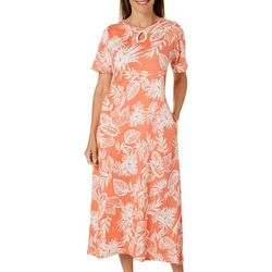 Coral Bay Womens Tropical Palms Print Long Leisure Dress