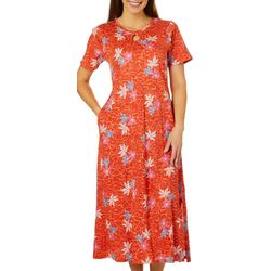 Coral Bay Womens Floral Print Long Leisure Dress