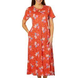 Coral Bay Womens Floral Print Long Leisure Dress