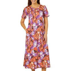 Coral Bay Womens Butterflies Long Leisure Dress