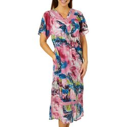 Coral Bay Womens Mixed Animal Gauze V-Neck Leisure Dress