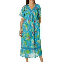 Coral Bay Womens Floral Gauze V-Neck Leisure Dress