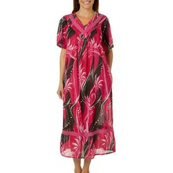 Coral Bay Womens Bird of Paradise Gauze V-Neck Leisure Dress