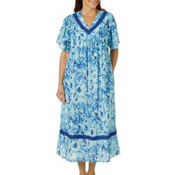 Coral Bay Womens Gauze Flowers V-Neck Leisure Dress