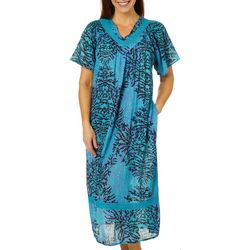 Coral Bay Womens Gauze Abstract Floral V-Neck Leisure Dress