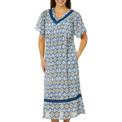 Coral Bay Womens Ikat Gauze Pleated Leisure Dress