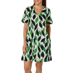 Coral Bay Womens Leaf Print V-Neck Lounge Dress