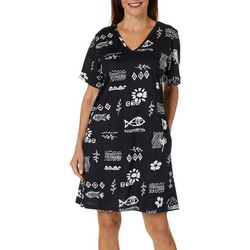 Coral Bay Womens Batik Fish Print V-Neck Lounge Dress