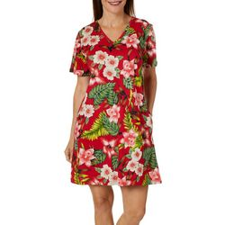 Coral Bay Womens Floral Short Sleeve Leisure Dress