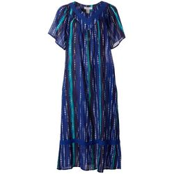 Coral Bay Womens Striped Crochet Detail Gauze Leisure Dress