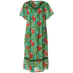Coral Bay Womens Tropical Crochet Detail Gauze Leisure Dress