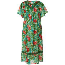 Womens Tropical Crochet Detail Gauze Leisure Dress
