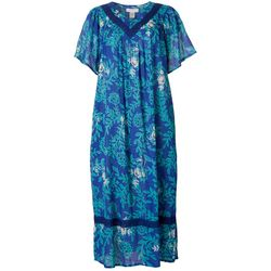Coral Bay Womens Floral Vines Gauze Leisure Dress