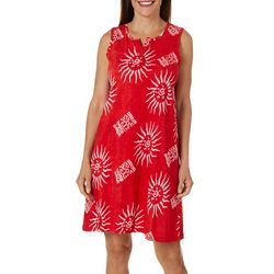 Coral Bay Womens Batik Sunburst Leisure Dress