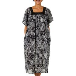 Coral Bay Womens Tropical Outlines Print Gauze Leisure Dress