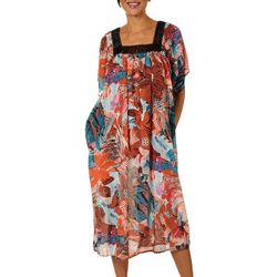 Coral Bay Womens Warm Batik Floral Gauze Leisure Dress