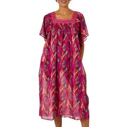 Coral Bay Womens Feather Print Gauze Leisure Dress