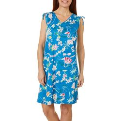 Coral Bay Womens Flamingo Floral Print Leisure Dress