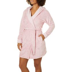 Jaclyn Intimates Womens Striped Accent Hooded Plush Robe