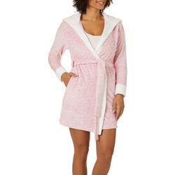 Jaclyn Intimates Womens Heathered Hoodeed Plush Knit Robe