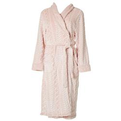 Womens Cable Textured Plush Robe