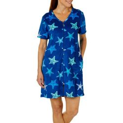Coral Bay Womens Starfish Print Short Sleeve Terry Robe