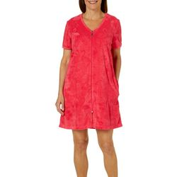 Coral Bay Womens Flamingo Short Sleeve Terry Robe