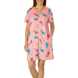 Coral Bay Womens Flip Flop Short Sleeve Terry Robe