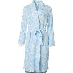 Jones New York Womens Vine Print Blister Knit Wrap Robe