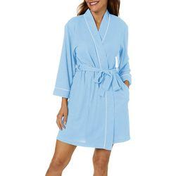 Womens Waffle Knit Half Sleeve Kimono Robe