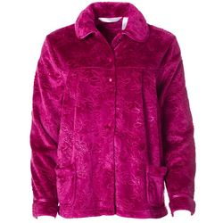 Womens Plush Floral Embossed Short Bed Jacket