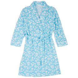 Coral Bay Womens Leaf Print Waffle Knit Kimono Robe