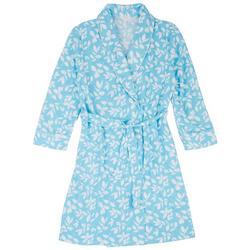 Womens Leaf Print Waffle Knit Kimono Robe