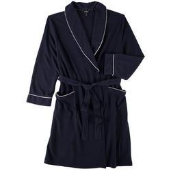 Womens Textured Pocketed Wrap Kimono Robe